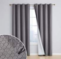 HLC.ME Siena Decorative 100% Full Blackout Thermal Insulated Window Curtain Drapes Grommet Panels for Living Room & Bedroom - Energy Savings & Soundproof, Set of 2 (50 x 96 inch Long, Charcoal Grey)