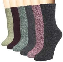 5 Pairs Wool Socks for Women Cozy Winter Socks Vintage Warm Socks Thick Knit Cabin Socks Gifts for Women