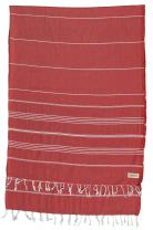 Bersuse 100% Cotton - Anatolia XL Throw Blanket Turkish Towel Pestemal - Bath Beach Fouta Peshtemal - Multipurpose Bed or Couch Throw, Table Cover or Picnic Mat - Striped - 61X82 Inches, Red