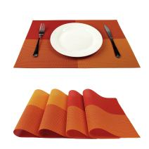 GEFEII Deluxe PVC Woven Vinyl Non-Slip Heat-Resistant Grid Placemats Kitchen Dining Party Environmental Table Mats Place Mats Pad Cushion (Orange, 4)