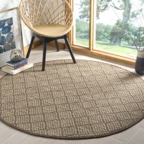 Safavieh Natural Fiber Collection NF155A Natural and Brown Round Area Rug, 6' in Diameter