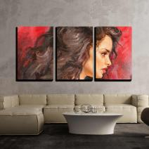 """wall26 - 3 Piece Canvas Wall Art - Oil Painting on Canvas of a Young Woman - Modern Home Decor Stretched and Framed Ready to Hang - 16""""x24""""x3 Panels"""