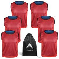 Athllete Reversible Pinnies (Pack of 6+Free Carry Bag) Basketball Soccer Training Vest Team Scrimmage Practice Jersey