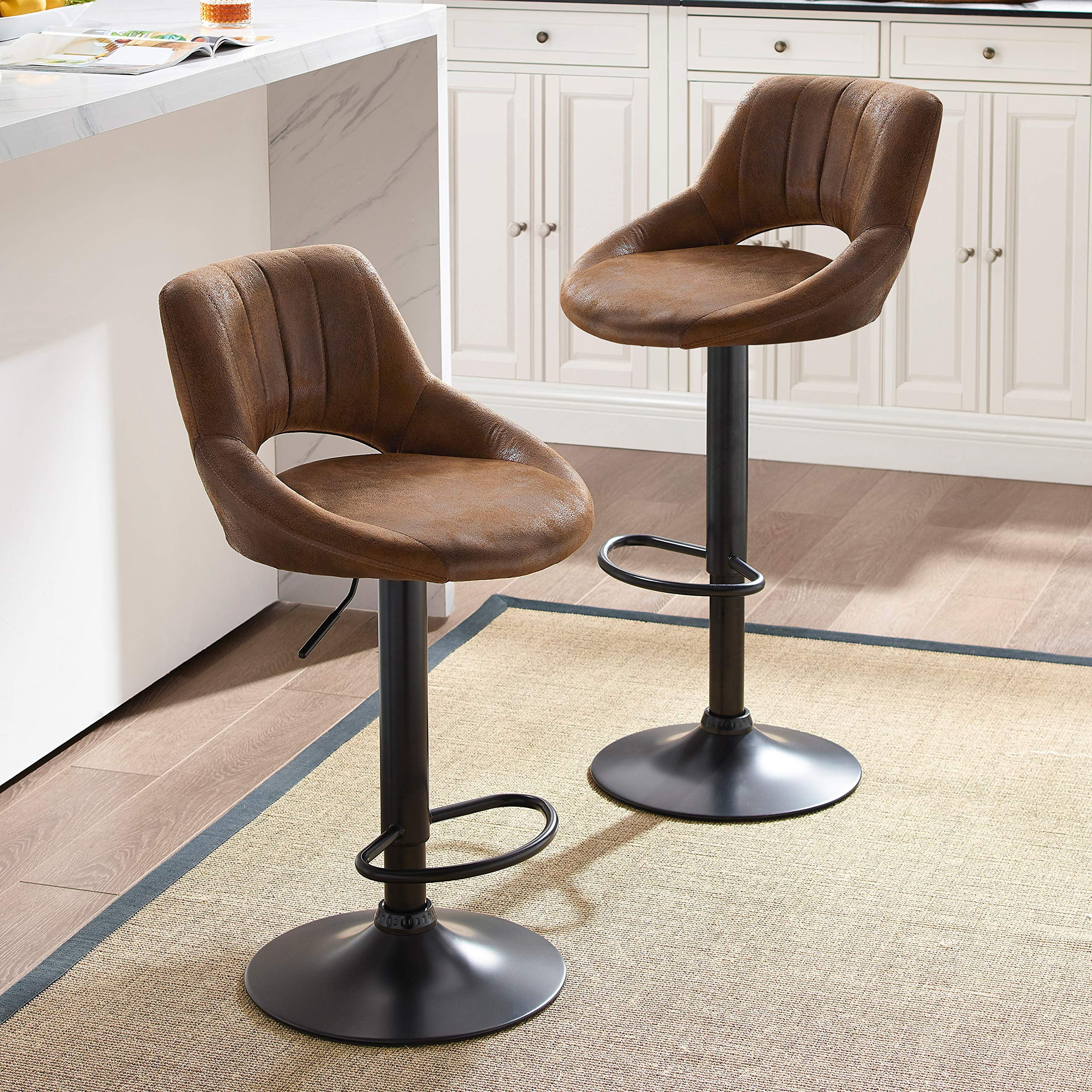 Art Leon Modern Retro PU Leather Adjustable 360 Swivel BarStools Chair Set of 2 with Open Backrest Black Powder Coated Gas Lift and Footrest (Brown)