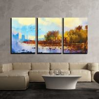 """wall26 - 3 Piece Canvas Wall Art - Seascape Watercolor Painting of Beautiful Beach at Sunset - Modern Home Decor Stretched and Framed Ready to Hang - 16""""x24""""x3 Panels"""