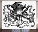 """Ambesonne Octopus Curtains, Vintage Style Diver Octopus Marine Animal Tentacles Scuba Concept, Living Room Bedroom Window Drapes 2 Panel Set, 108"""" X 90"""", Charcoal"""