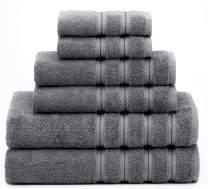 American Soft Linen 6-Piece 100% Turkish Genuine Cotton Premium & Luxury Towel Set for Bathroom & Kitchen, 2 Bath Towels, 2 Hand Towels & 2 Washcloths [Worth $72.95] - Dark Grey
