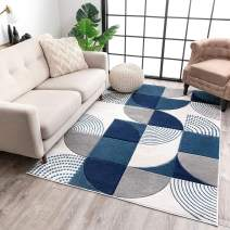 """Well Woven Maggie Blue Modern Geometric Dots & Boxes Pattern Area Rug 8x10 (7'10"""" x 10'6"""")"""