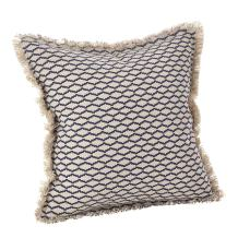 """SARO LIFESTYLE Canberra Collection Fringed Morrocan Down Filled Cotton Throw Pillow, 20"""", Navy Blue"""