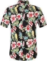 SSLR Men's Floral Casual Button Down Short Sleeve Hawaiian Shirt