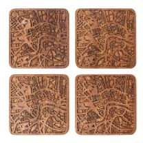 London Map Coaster by O3 Design Studio, Set Of 4, Sapele Wooden Coaster With City Map, Handmade