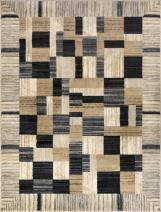 ADGO Atlantic Collection Modern Abstract Geometric Soft Pile Contemporary Carpet Thick Plush Stain Fade Resistant Easy Clean Bedroom Living Dining Room Area Rug (3' x 5', 6322A - Tan Grey)