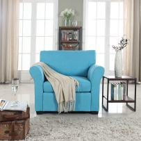 Divano Roma Furniture Classic and Traditional Linen Fabric Accent Chair-Living Room Armchair (Blue)