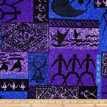 Trans-Pacific Textiles Purple Tapa Petroglyphs Barkcloth Fabric by The Yard