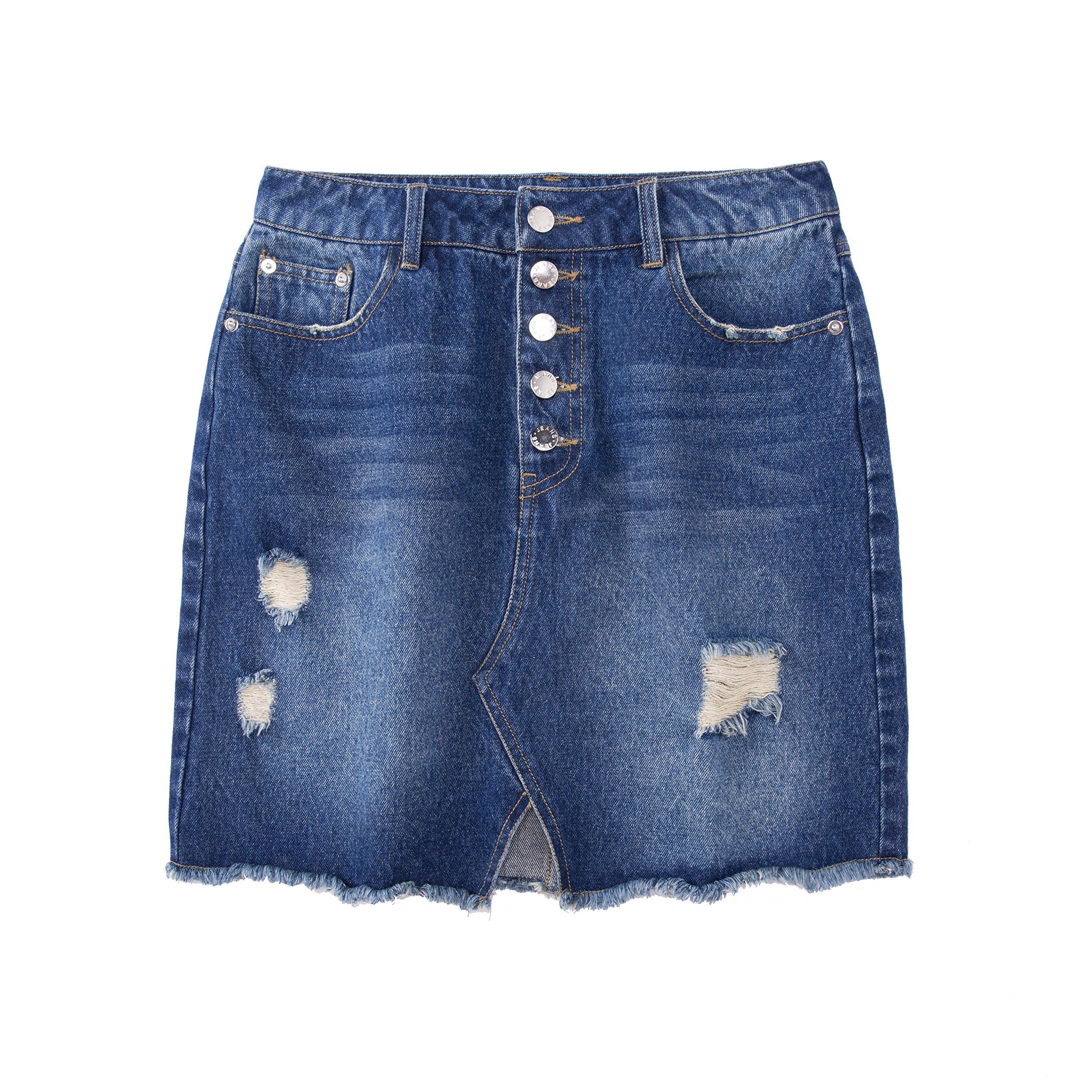 "Tronjori Womens Distressed Ripped Denim Short Pencil Skirt, Frayed Hem(S,Blue Waist 28"")"