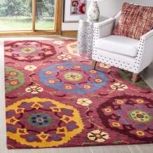 Safavieh Wyndham Collection WYD985A Handmade Red and Multi Wool Area Rug, 4 feet by 6 feet (4' x 6')