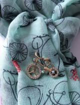 Smiling Wisdom - Mint Green Bike Themed Journey Greeting Card Scarf Brooch Gift Set - Wisdom Courage Strength Inspirational - Young Adult, Coming of Age, Her, Woman, Grad - Retro Green Blue