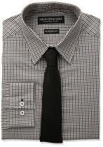Nick Graham Men's Mini Multi Gingham Dress Shirt with Solid Tie Set