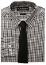 Nick Graham Men's Mini Multi Gingham Dress Shirt with Solid Tie Set
