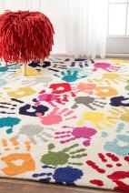 """nuLOOM Handprint Nursery Kids Area Rug, 6' 7"""" x 9', Multi"""