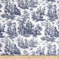 WAVERLY Navy Rustic Life Toile Fabric by The Yard