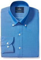 Amazon Brand - Buttoned Down Men's Slim-Fit Button Collar Solid Pinpoint Dress Shirt, Supima Cotton Non-Iron