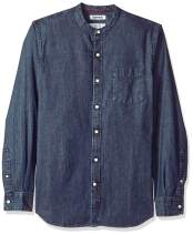 Amazon Brand - Goodthreads Men's Slim-Fit Long-Sleeve Band-Collar Denim Shirt