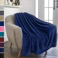 PAVILIA Plush Sherpa Throw Blanket for Couch Sofa | Fluffy Microfiber Fleece Throw | Soft, Fuzzy, Cozy, Shaggy, Lightweight | Solid Navy Blue Blanket | 50 x 60 Inches