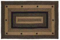 "V0310-IHF Home Decor Braided Area Rug Rectangle Star Design Jute Fabric Material,Black, Tan 20""x30"" to 8'x10' (4'x6')"