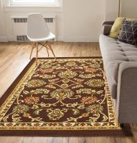"""Well Woven Non-Skid/Slip Rubber Back Antibacterial 8x10 (7'10"""" x 9'10"""") Area Rug Timeless Oriental Brown Traditional Classic Sarouk Thin Low Pile Machine Washable Indoor Outdoor Kitchen Hallway Entry"""