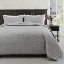 Cozy Beddings Madison 2pc Quilted Bedspread Grey Cover Set, Light Weight and Oversized Coverlet Twin/Twin XL, Grey