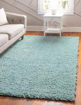 Unique Loom Davos Shag Collection Contemporary Soft Cozy Solid Shag Aqua Area Rug (12' 2 x 15' 0)