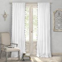 "Elrene Home Fashions Bianca Semi-Sheer Rod Pocket Window Curtain Panel with Tassels, 52"" x 84"" (1, Gray"