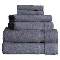 SALBAKOS Cambridge Ultra Luxury Hotel Collection & Spa Bath Towels Turkish Cotton Bath Towels Made in Turkey 700gsm Eco-Friendly Bulk Save (6 Piece Set, Gray)
