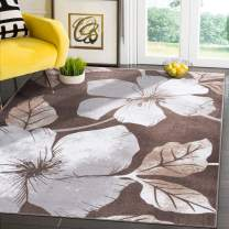 Camilson Modern Floral Area Rug - Non Slip Large Flower Carpet for Indoor Rugs - Living Room, Bedroom, Kitchen and Hallway mats, Entryway Decoration (5x7, Grey Brown)