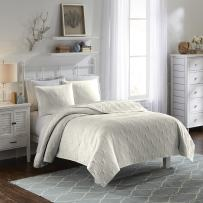 VUE Atlantis 100% Cotton Coverlet with 1 Coordinating Decorative Shams, Twin, Ivory