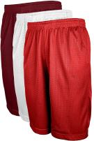 OLLIE ARNES Mesh Basketball Shorts for Men, Athletic Gym Workout Short with Pockets (S-6X) SET3_Burg_RED_WHT 3XL