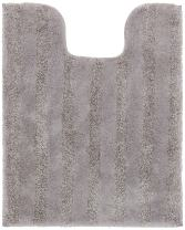 Mohawk Basic Stripe Cloud Burst Plush Striped Washable Bath Contour Toilet Mat, 20x24, Gray