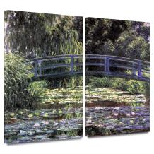 ArtWall 'Bridge at Sea Rose Pond' 2-Piece Gallery-Wrapped Canvas Art by Claude Monet, 24 by 36-Inch