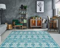"PRIYATE Florida Collection - Boho Chic. Indoor Outdoor use, Water Repellent, Anti Slip Area Carpet for Bedroom, Living Room, Home Office, Kitchen Area, Deck, Foyer – Ocean Green (5'3"" X 7'6"")"
