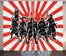 """Ambesonne Japanese Curtains, Group of Samurai Ninja Posing and Getting Ready on Unusual Striped Retro Backdrop, Living Room Bedroom Window Drapes 2 Panel Set, 108"""" X 84"""", Black Red"""