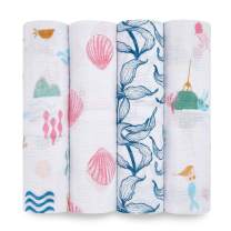 aden + anais Swaddle Blanket, Boutique Muslin Blankets for Girls & Boys, Baby Receiving Swaddles, Ideal Newborn & Infant Swaddling Set, Perfect Shower Gifts, 4 Pack, Mermaids