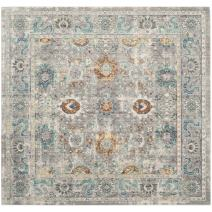"""Safavieh Mystique Collection MYS924R Vintage Watercolor Grey and Multi Square Distressed Area Rug (6'7"""" Square)"""