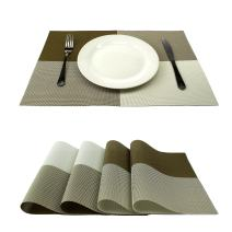 GEFEII Deluxe PVC Woven Vinyl Non-Slip Heat-Resistant Grid Placemats Kitchen Dining Party Environmental Table Mats Place Mats Cushion (Apricot, 6)