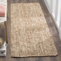 """Safavieh Fiber Collection NF447N Hand-woven Chunky Textured Jute Runner, 2' 6"""" x 12', Natural/Ivory"""