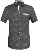 SSLR Men's Cotton Polka Dot Short Sleeves Slim Fit Dress Shirts (Small, Black)