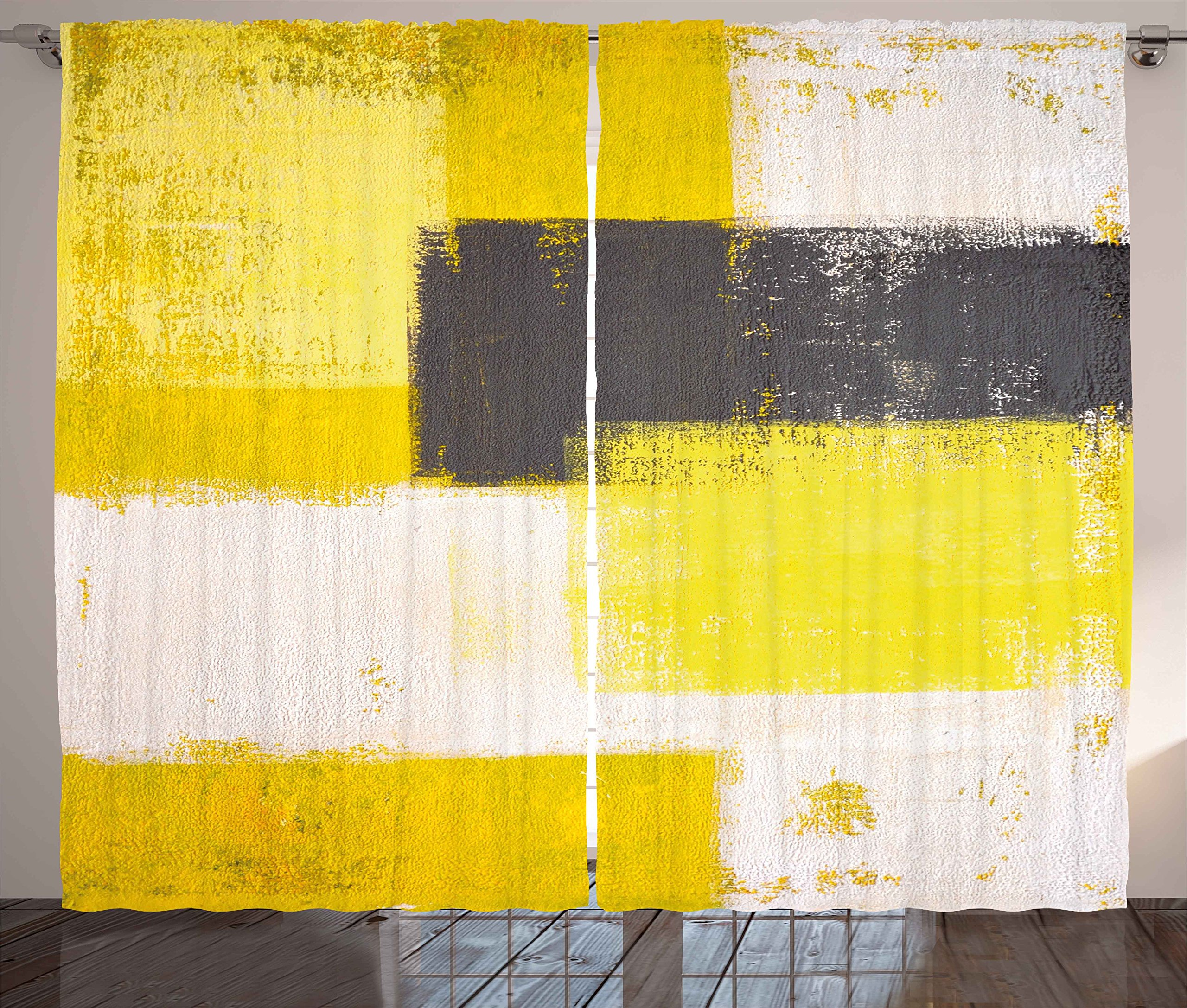 """Ambesonne Grey and Yellow Curtains, Abstract Grunge Style Brushstrokes Painting Style, Living Room Bedroom Window Drapes 2 Panel Set, 108"""" X 84"""", White Charcoal"""