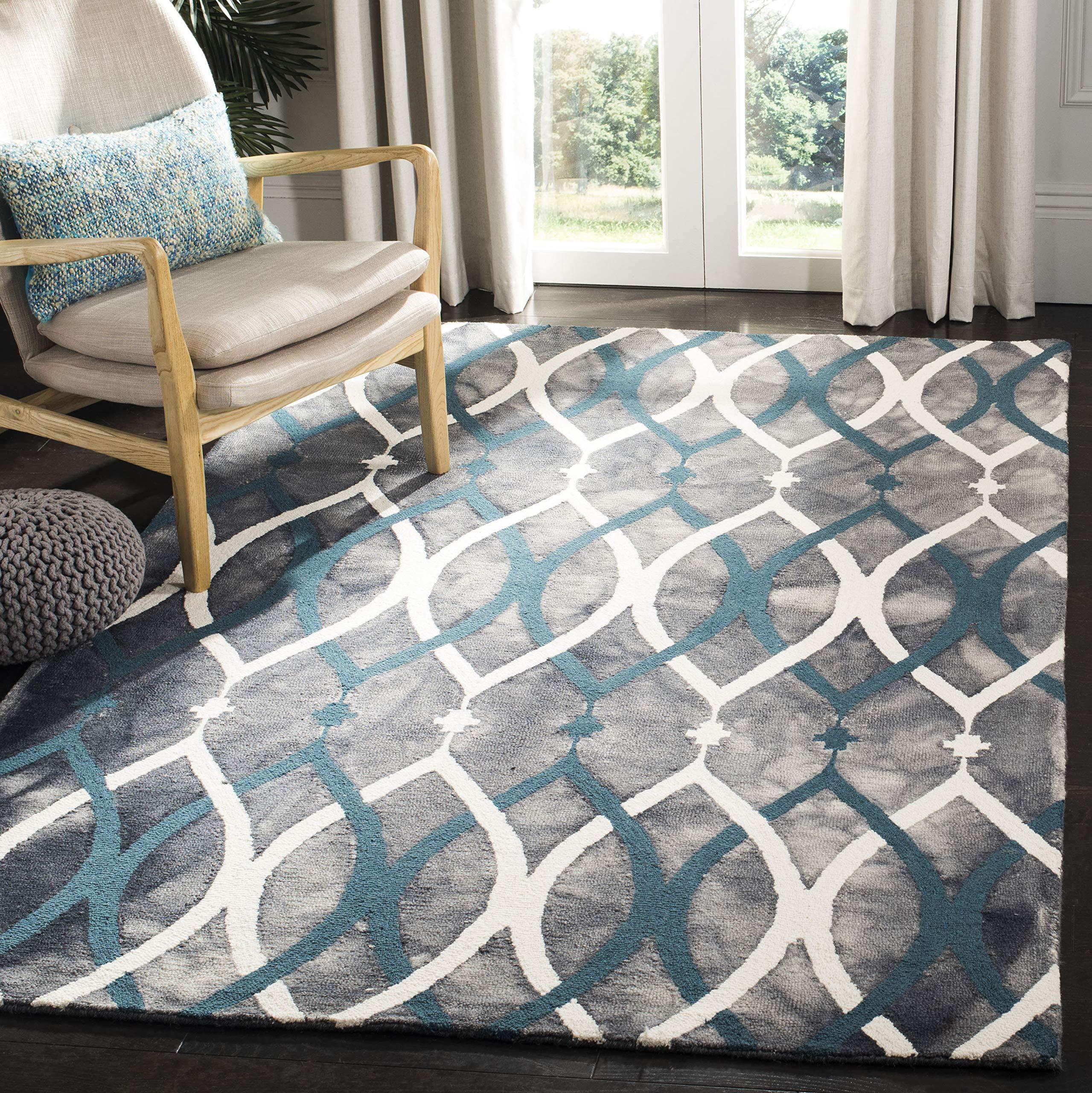 Safavieh Dip Dye Collection Ddy534j Handmade Modern Geometric Watercolor Grey And Ivory Blue Wool Area Rug 8 X 10