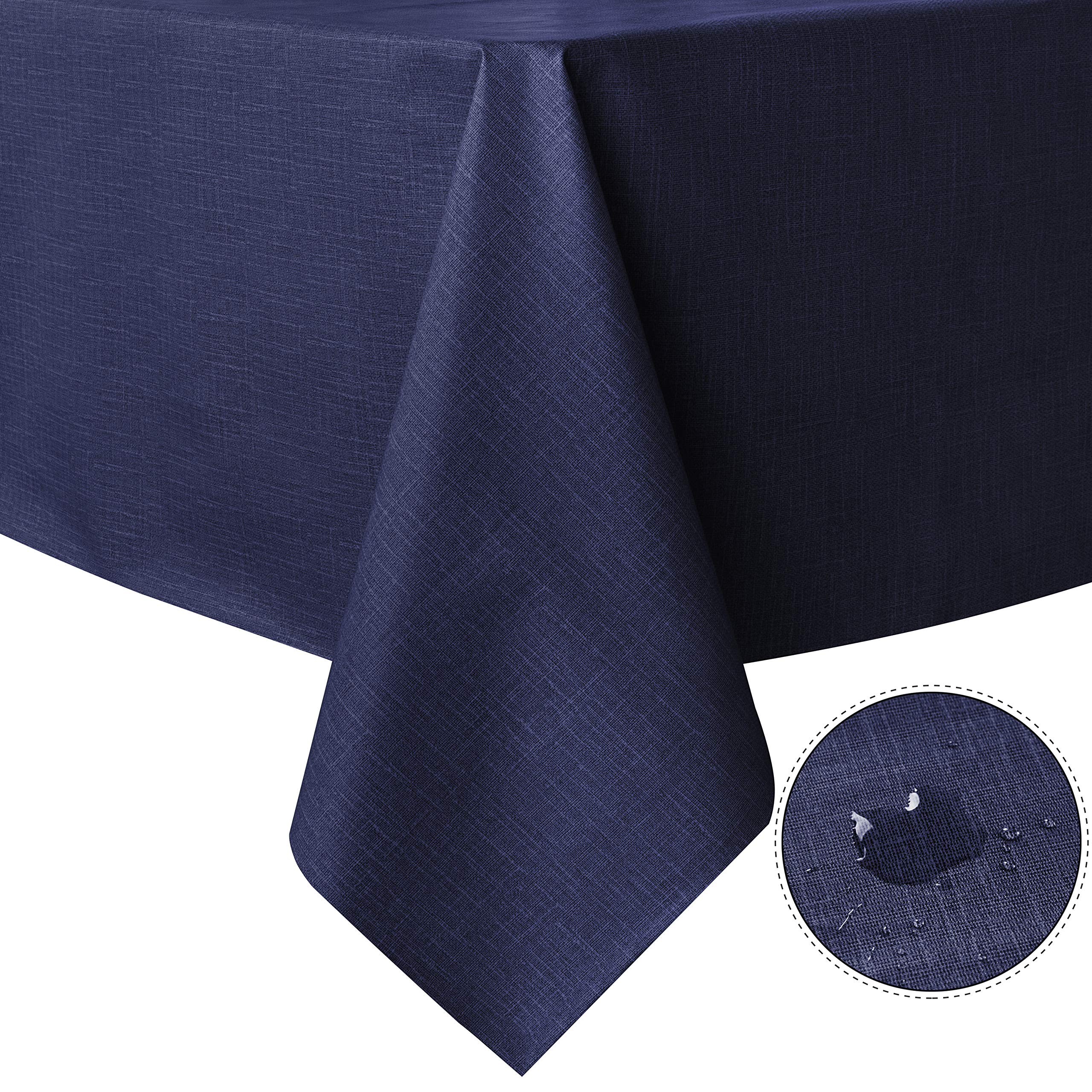 sancua 100% Waterproof Rectangle PVC Tablecloth - 54 x 78 Inch - Oil Proof Spill Proof Vinyl Table Cloth, Wipe Clean Table Cover for Dining Table, Buffet Parties and Camping, Navy