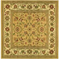 Safavieh Lyndhurst Collection LNH212D Traditional Oriental Non-Shedding Stain Resistant Living Room Bedroom Area Rug, 8' x 8' Square, Beige / Ivory
